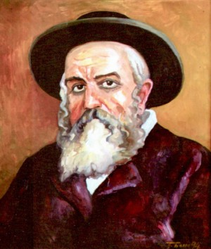 Portrait of rabbi Lazar Shpira, 1994, oil on cardboard, 79,5х69