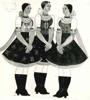 Ескізи словацьких костюмів, папір, темпера,1973, 80х80