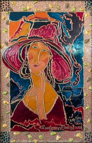 Пані в бордовому, 2007, скло, фарби по склу, авт. техн.