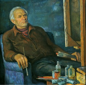 Portrait of the painter Zoltan Sholtes, 1981, oil on canvas,  108х108