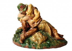 Kiss, 1962, majolica, round sculpture
