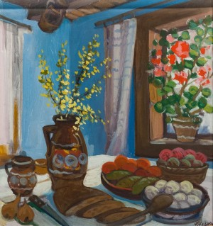 'Lenten Dinner', 1965, tempera on cardboard, 56x62