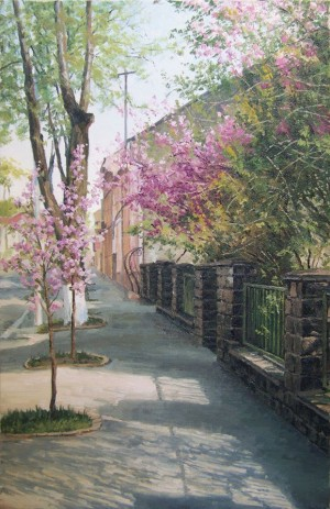 Varosh Where I Live. Cherry Blossom, oil on canvas