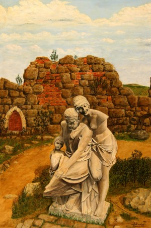 Family. Uzhhorod Castle Sculpture', 1985, oil on canvas, 94x62