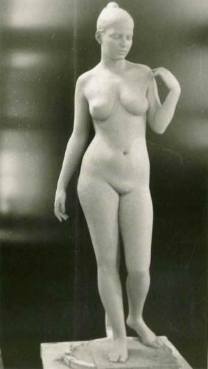 Курсова постановка, 1985, оголена жіноча фігура, натуральна величина, глина