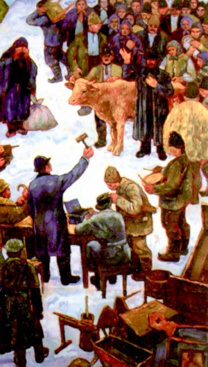Sale of poor belongings, 1979, oil on canvas, 166х100