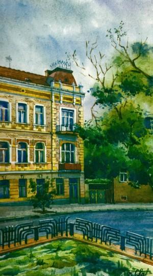 House in Sobranetska Street,1 1995 watercolour