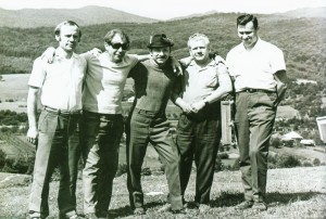Yu. Herts and I. Brovdi (second and third from the left) at the plein air. Yasinia village, 1972