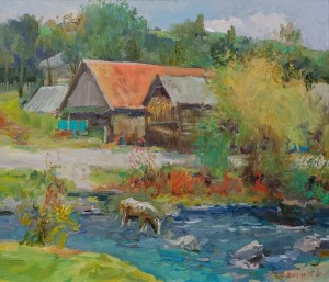 V. Stohnut 'Through The Stream In Stuzhytsia Village', 2017, oil on canvas, 70x60