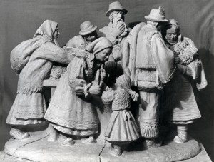 Sellers Of Honey Cake, 1972, terracotta, round sculpture