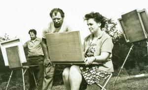 Plein air of amateur artists. Yasinia village, 1972
