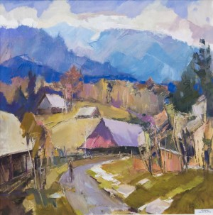 V. Dub. Liskovets Village, 2017, oil on canvas, 70x70