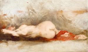 Молода дівчина з червоною шаллю, дошка,о., 16х26