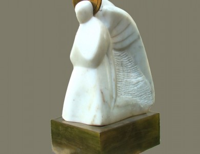 «Вісник», 1994, мармур, бронза, 24х10х13