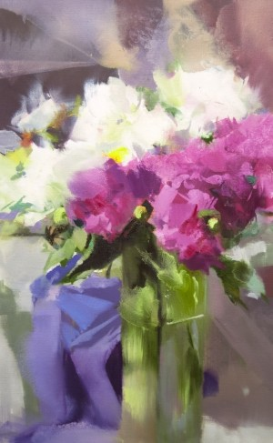 Peonies in the Sun 2016 oil on canvas 65x40.