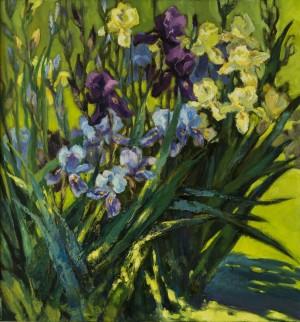 Irises, Etude, 2015, oil on canvas, 70x70