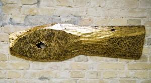 """Із серії """"Золото Карпат"""", 2012, дошка, акр.золота поталь, 33х116"""