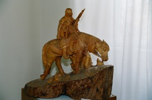 Spinning Woman On The Horse, 1981, wood, round sculpture