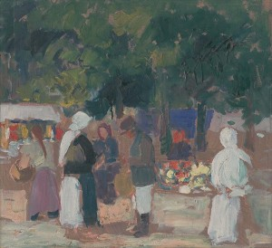 'Market In Levoča', 1935, oil on board, 46x50.png