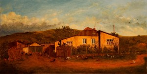 Uzhhorod Yard, 1994, oil on canvas, 64x124