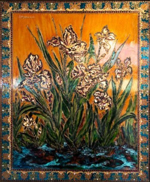Hungarian Irises, 2012, glass, paint on glass, authors technique
