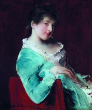 Woman in green 1880s oil on baord 46x37