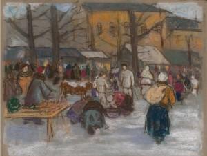 'Market In Ružomberok', pastel on paper, 34,1х44,9.png