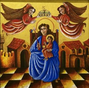 János Molnár Theotokos with the Baby Jesus acrylic, cavas 50х50