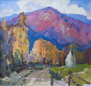 V. Dub. Autumn in Village Kostronska Roztoka, 2011, oil on canvas, 70x70