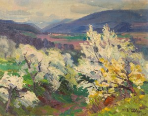 Cherry Trees Are Blooming, 1965, oil on canvas, 55x70