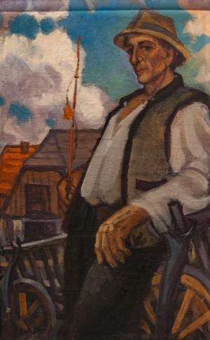 'Mihal Petrishko From Dulovo Village', 1993, tempera on canvas, 83x51