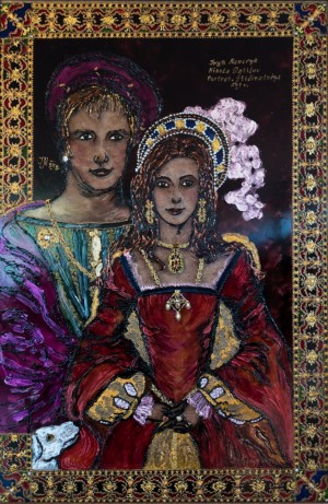 Double Solemn Portrait In The Style of The XVII Century, 2012, glass, paint on glass