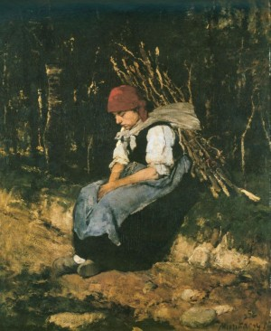 Womam Carrying Brushwood 1873 oil on board