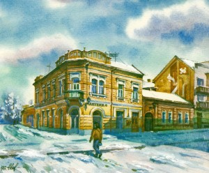 At the crossroads of Koriatovych Square and Dukhnovych Street,1996 watercolour
