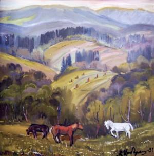 Пейзаж з кіньми, 2001, п.о., 80х100