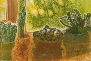 O. Dolhosh 'Cacti On The Windowsill', pastel on paper, 50x80