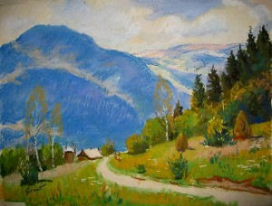 Road Under The Mountain, the 1970s, pastel on cardboard, 25х30