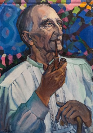 'Mykhailo Halytsia – A Tale Teller From Dulovo Village', 1970, oil on canvas, 92x65