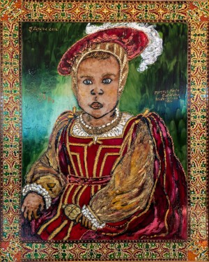 Портрет VIP-персони з брязкальцем у стилі XVI ст., 2012, скло, фарби по склу