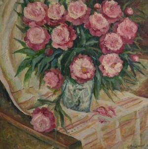 Піони, 1997, п.о., 80х80
