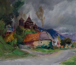 V. Sandiuk. Uzhok Village. Motif. 2017, oil on canvas, 60x70