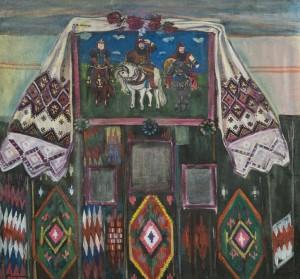 Гуцульський інтер'єр з репродукцією картини Васнєцова, 1960-ті, п.о. 100х108