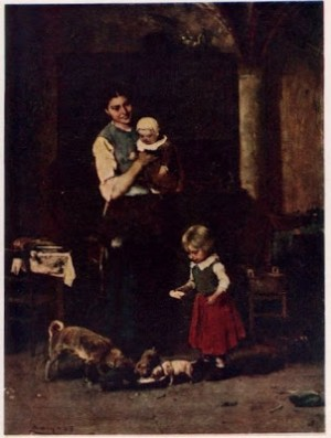 The Two Families oi on canvas 1877