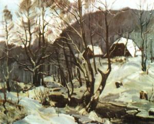 Хата лісника в с.Камяниця, 1991, 70х80