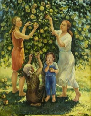 "Triptych ""Apple Luxury"", Near the Apple Tree, 2015, oil on canvas,100x80"
