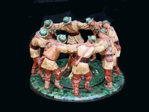 Arkan Dance, 1962, majolica, round sculpture
