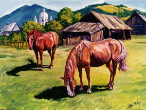 'Horses', 2001, oil on canvas