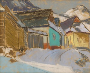 'Village In Winter', 1941, pastel on paper, 54x43.png