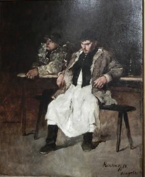 Два молодики біля стола. Ескіз до картини Сільський герой. 1874 р. п.о.