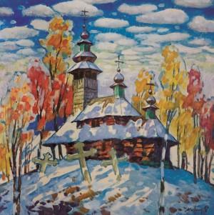 Митрик М. Церква. Перший сніг, 1997, п.о., 70х70